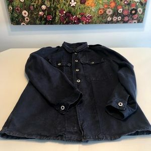 Navy blue canevas chore jacket.